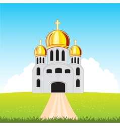 Church in field vector