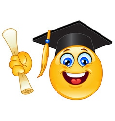 Graduation emoticon vector