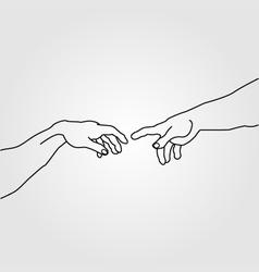 Hands showing the creation of adam vector