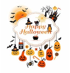 Halloween with celebration symbols vector