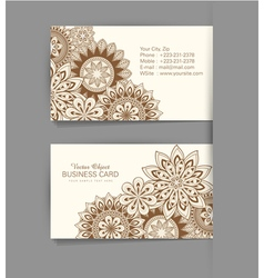 Template business card with the ethnic pattern vector