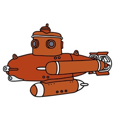 Red small submarine vector