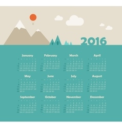 Calendar 2016 with mountain week starts sunday vector