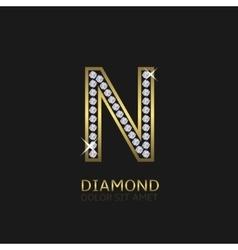 Golden Letter N vector image