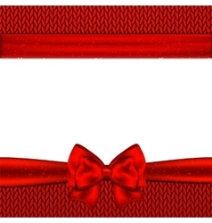 Red bow on red knitted background design vector