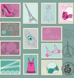 Fashion stamp collection vector