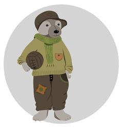 footballer teddy bear vector image