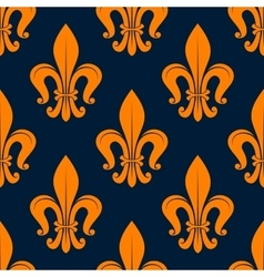 Orange fleur-de-lis floral seamless background vector