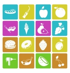 Colorful food and fruit icon set vector
