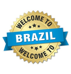 Brazil 3d gold badge with blue ribbon vector