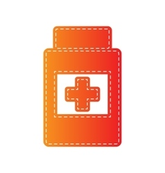 Medical container sign orange applique isolated vector