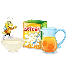 Cereal and orange juice for breakfast vector
