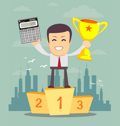 accountant is showing a calculator and winner cup vector image vector image