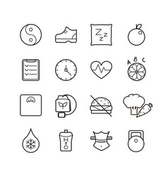 black thin line health icons set vector image vector image