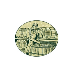 Brewer brewing beer etching vector