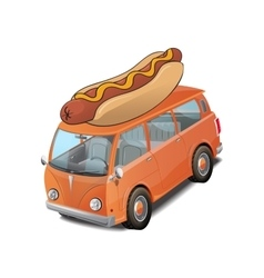 Car hotdog fast food on white vector image