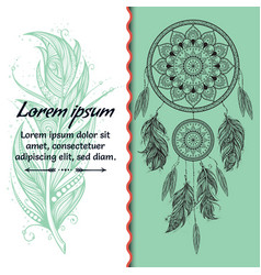 Card design dreamcatcher text place boho style vector