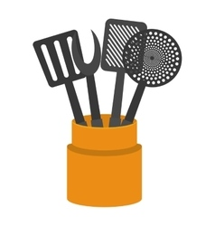 Cartoon set utensil kitchen container vector