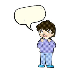 Cartoon worried person with speech bubble vector