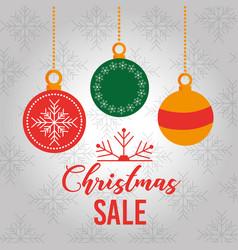 christmas sale card decoration balls hanging vector image