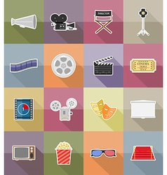 cinema flat icons 18 vector image vector image