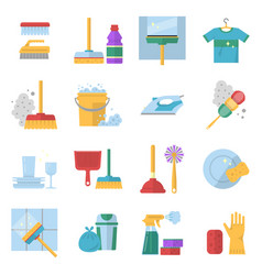 Cleaning service symbols different colored tools vector
