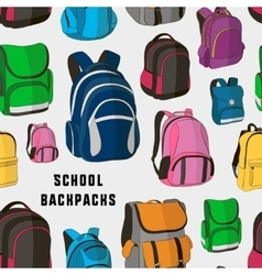 Colored school backpacks set pattern vector image