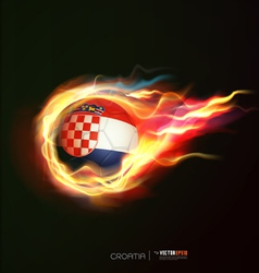 Croatia flag with flying soccer ball on fire vector