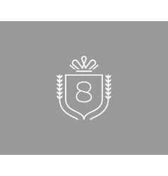 Elegant number 8 logotype premium numeral crest vector
