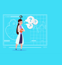 Female doctor confused thinking medical clinics vector