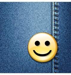 Happy smiley face badge on blue denim vector image vector image