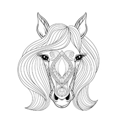 Horse Coloring page with zentangled Horse vector image