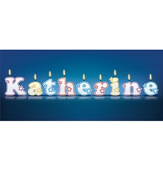 Katherine written with burning candles vector
