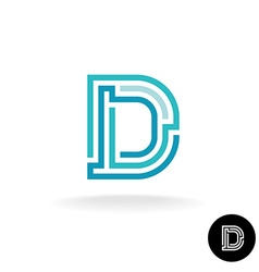 Letter D technical logo Line elements style vector image vector image