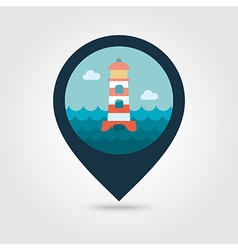 Lighthouse pin map icon Summer Marine vector image