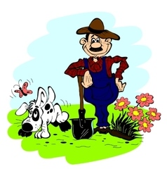 Man and dog in the garden vector