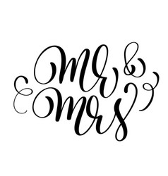 mr and mrs text on white background hand drawn vector image vector image