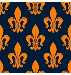 Orange fleur-de-lis floral seamless background vector image vector image