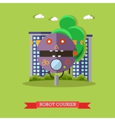 Robot courier flat design vector