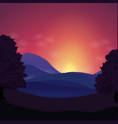 sunset landscape hills and mountains vector image vector image