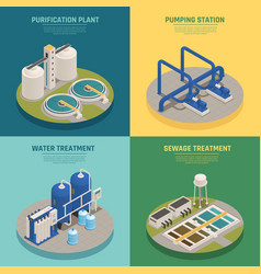 Wastewater purification isometric icons square vector