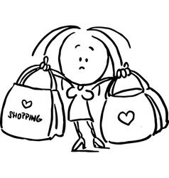 woman holding shopping bags - black outline sketch vector image