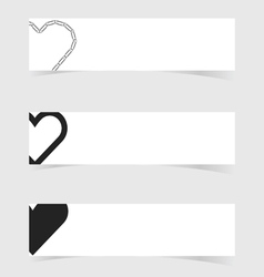 Banner with heart love icon design set vector