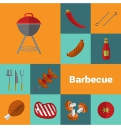 Barbecue grill icons set bbq concept vector