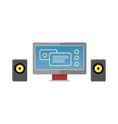 Gray computer monitor with audio speakers vector