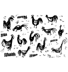 Ink artistic drawing with roosters vector image