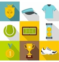 Sport with racket icons set flat style vector image
