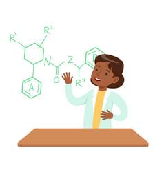 Girl chemist explaining skeletal chemical formula vector
