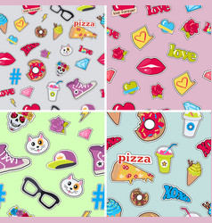 seamless patterns set with patch objects for teens vector image