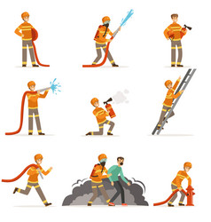 Firemen characters doing their job and saving vector